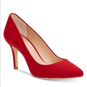 INC Red Suede Zitah pointed toe heel